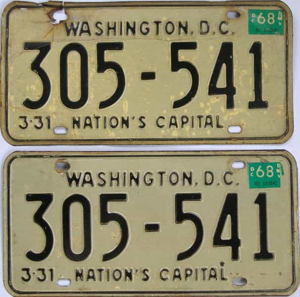 1968 DC (Pair) license plate for sale