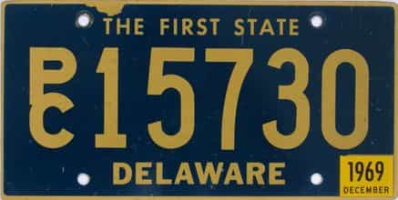 1969 Delaware license plate for sale