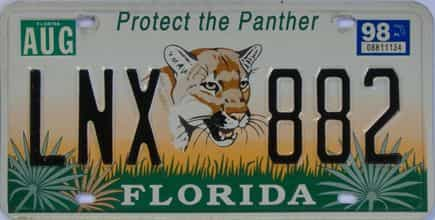 1998 Florida (Natural) license plate for sale