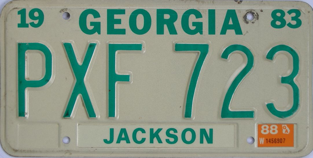 1988 Georgia (Natural) license plate for sale