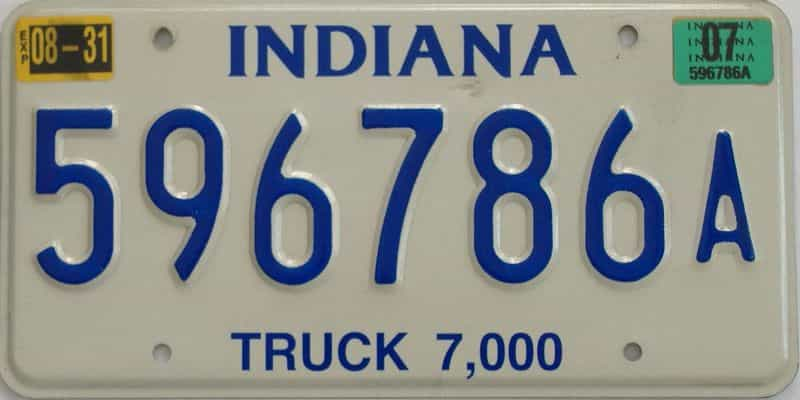 2007 Indiana license plate for sale