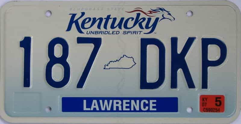 2007 Kentucky (Natural) license plate for sale