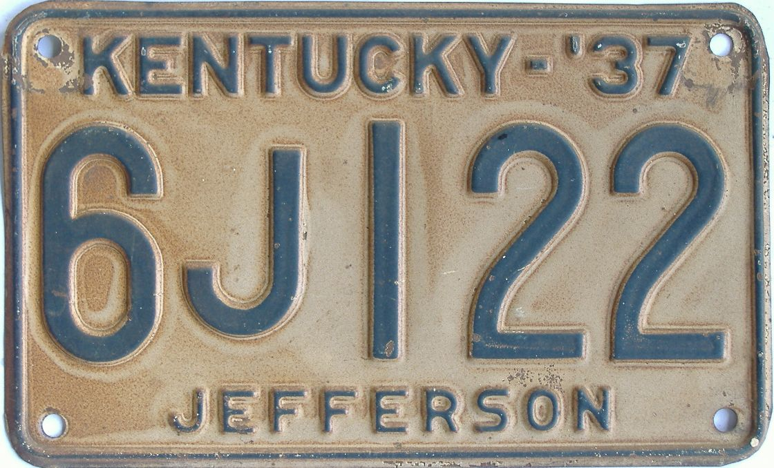 1937 Kentucky (Single) license plate for sale