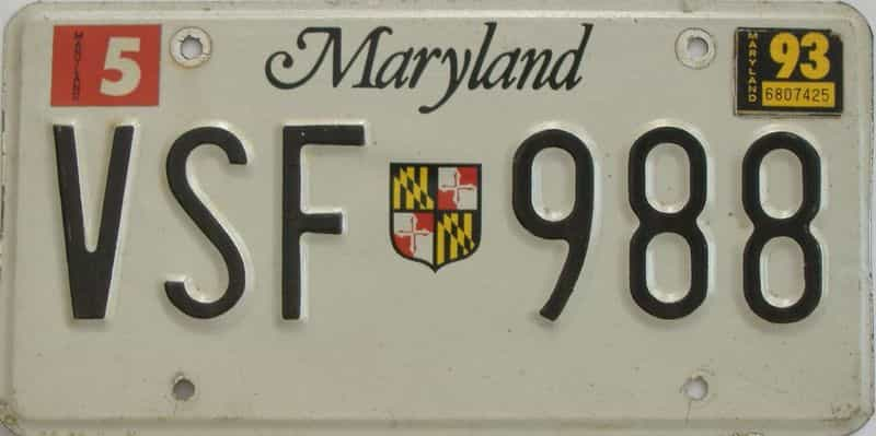 1993 Maryland (Single) license plate for sale