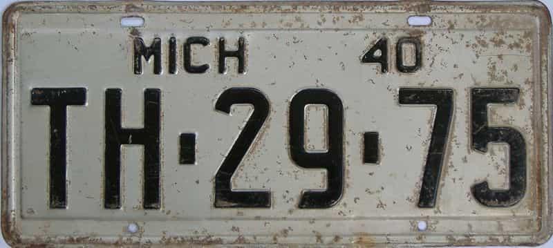 1940 MI (Single) license plate for sale