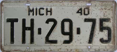 1940 Michigan (Single) license plate for sale