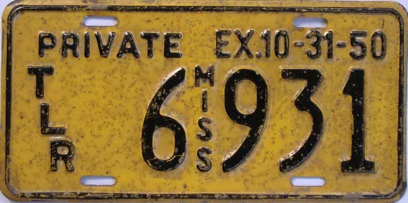 1950 Mississippi  (Trailer) license plate for sale