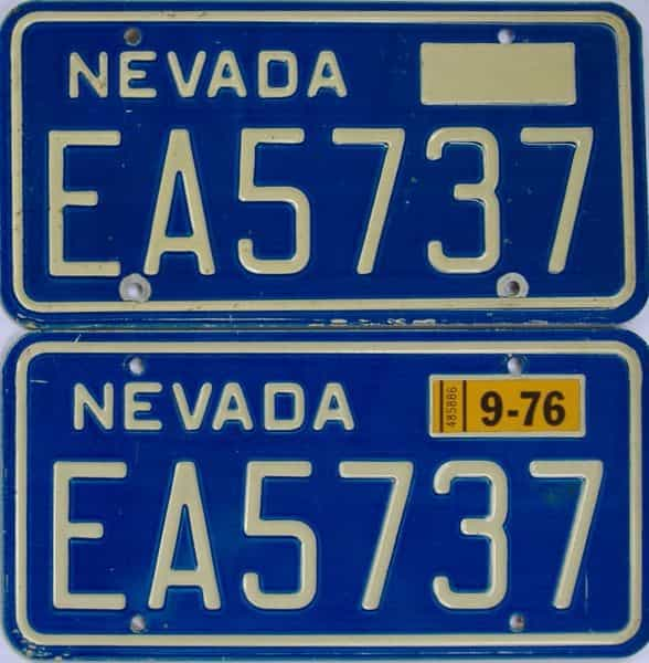 1976 Nevada (Pair) license plate for sale