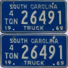 1969 South Carolina license plate for sale