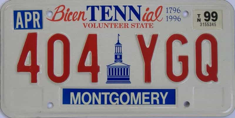 1999 Tennessee license plate for sale