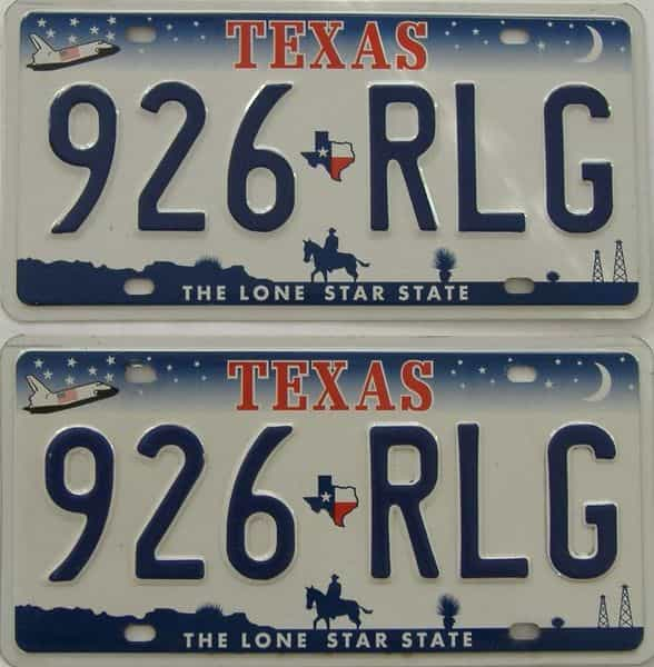 Texas  (Pair) license plate for sale