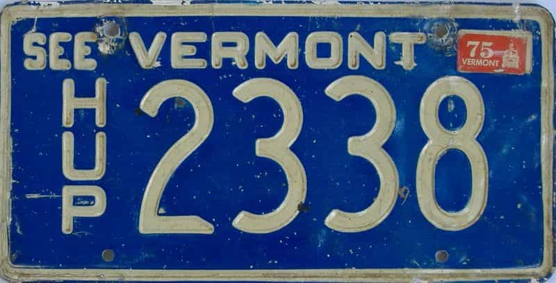 1975 VT (Non Pass) license plate for sale