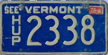 1975 Vermont (Non Pass) license plate for sale