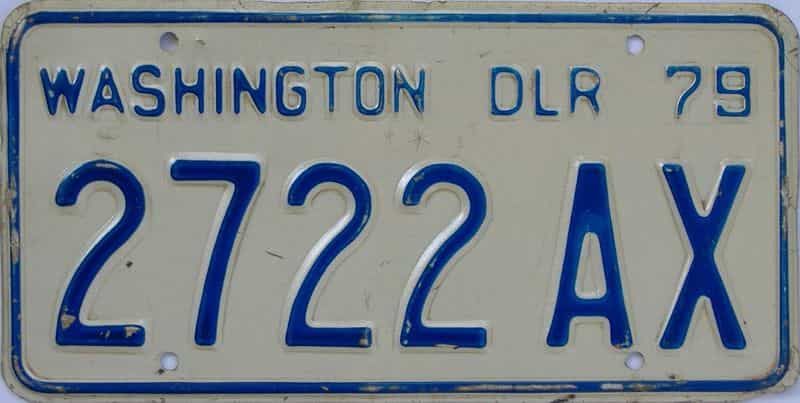 1979 Washington (Dealer) license plate for sale
