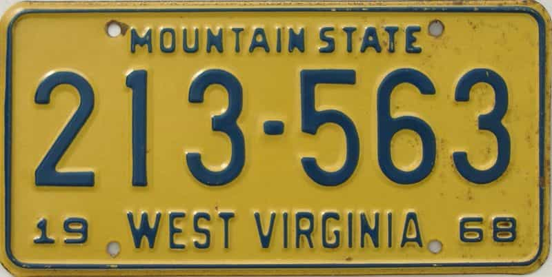 1968 WV license plate for sale