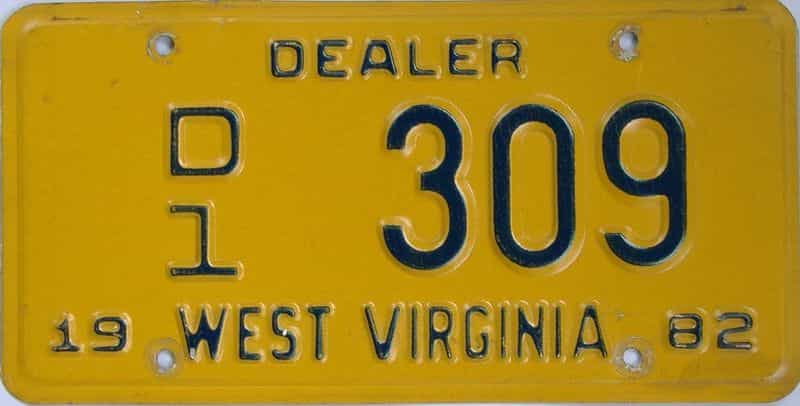 1982 West Virginia (Dealer) license plate for sale