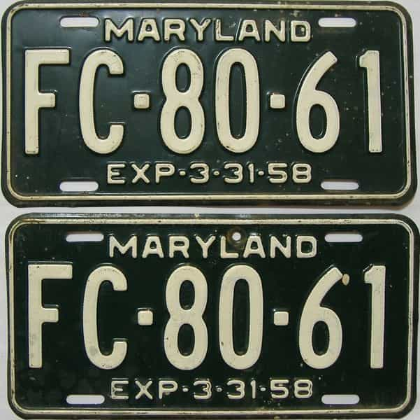 1958 Maryland (Pair) license plate for sale
