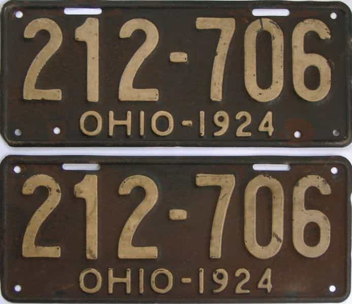 1924 OH (Pair) license plate for sale