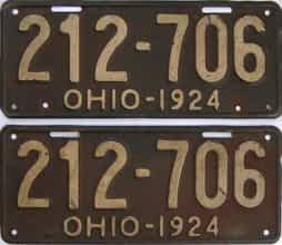 1924 Ohio (Pair) license plate for sale