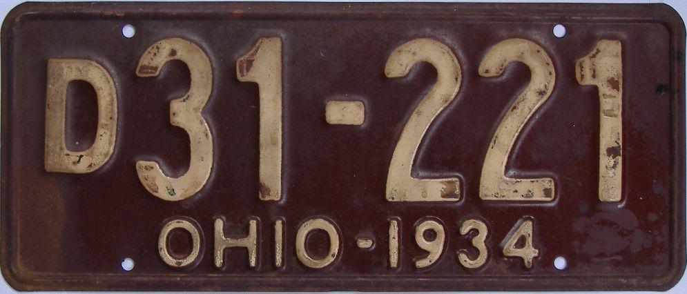 1934 Ohio (Single) license plate for sale