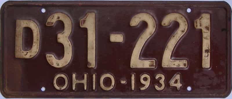 1934 OH (Single) license plate for sale