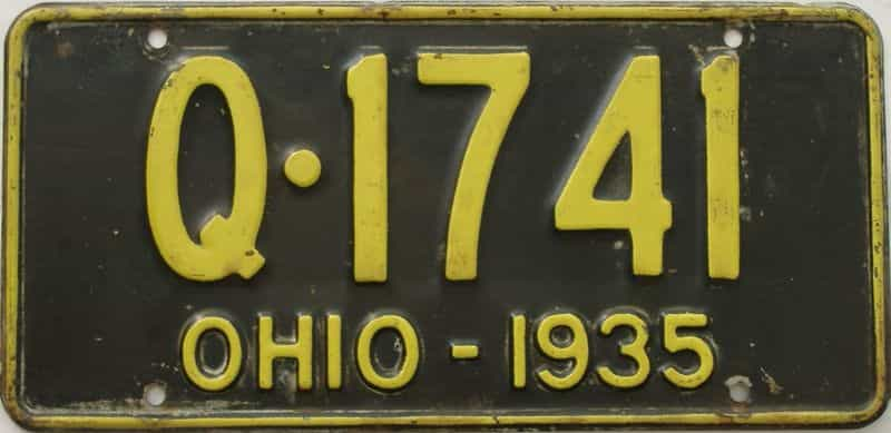 1935 OH (Single) license plate for sale