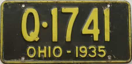1935 Ohio (Single) license plate for sale