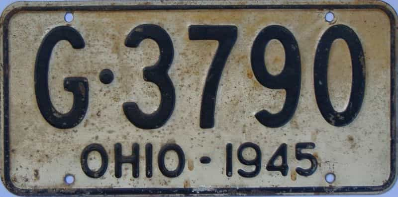 1945 Ohio license plate for sale