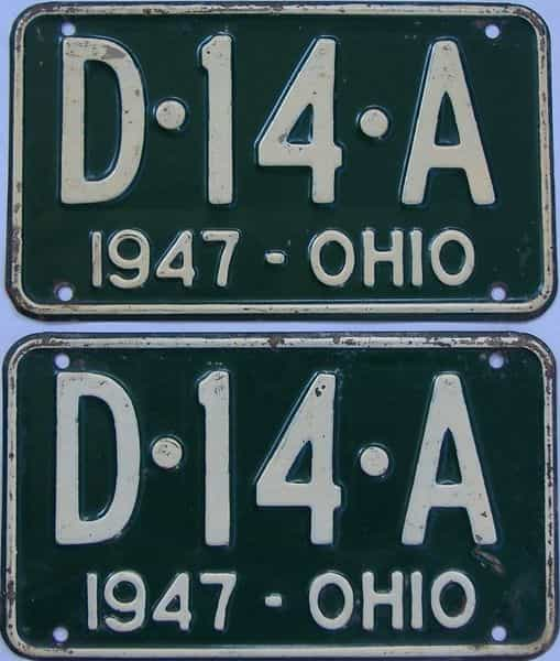 1947 Ohio  (Pair) license plate for sale