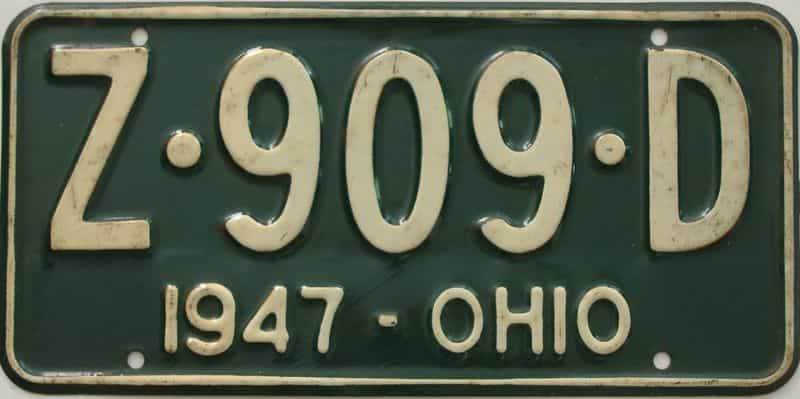 1947 OH (Single) license plate for sale
