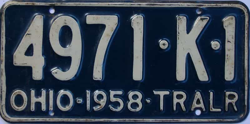 1958 OH (Trailer) license plate for sale