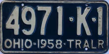 1958 Ohio  (Trailer) license plate for sale