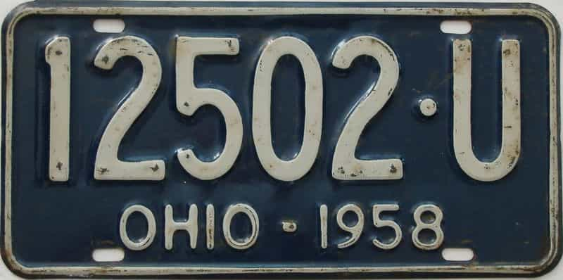 1958 Ohio (Single) license plate for sale