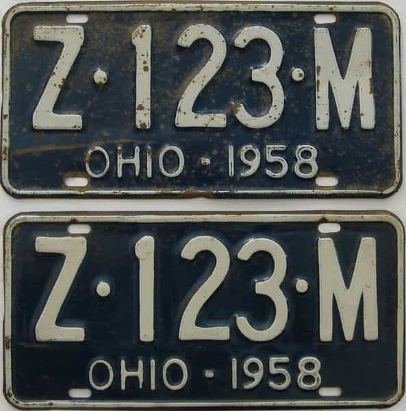 1958 OH (Pair) license plate for sale