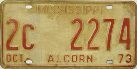 1973 Mississippi license plate for sale