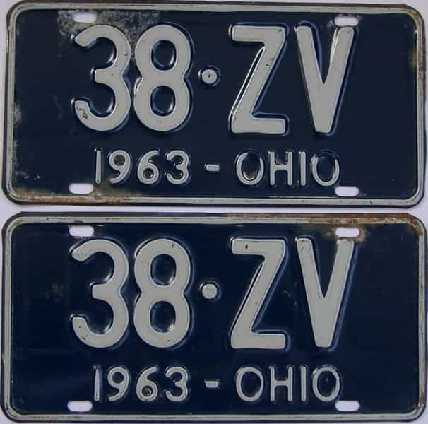 1963 OH (Pair) license plate for sale