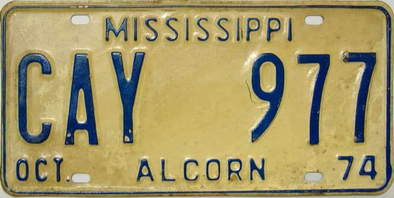 1974 Mississippi license plate for sale