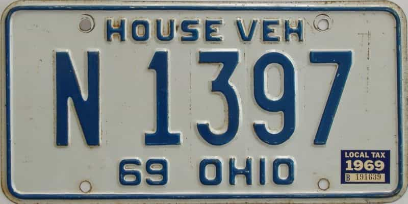 1969 OH license plate for sale