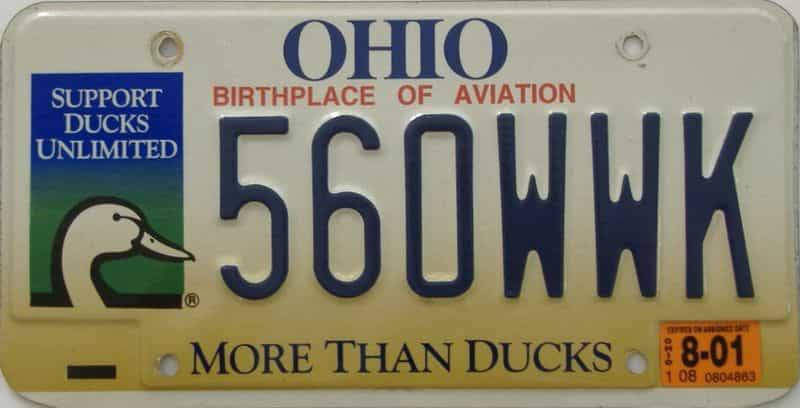 2001 OH (Single) license plate for sale
