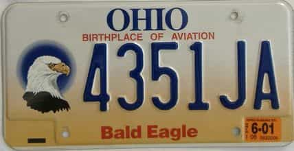 2001 Ohio  (Single) license plate for sale