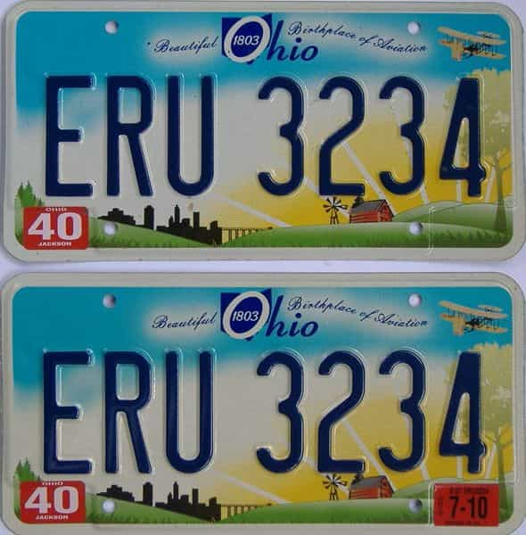 2010 Ohio  (Pair) license plate for sale