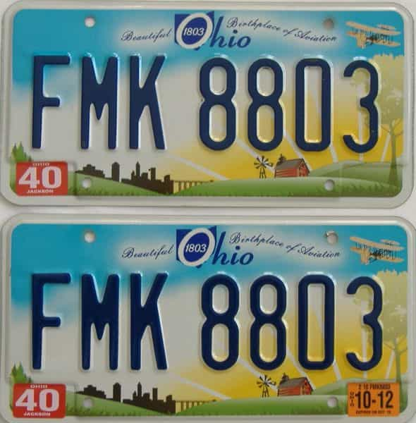 2012 OH (Pair) license plate for sale