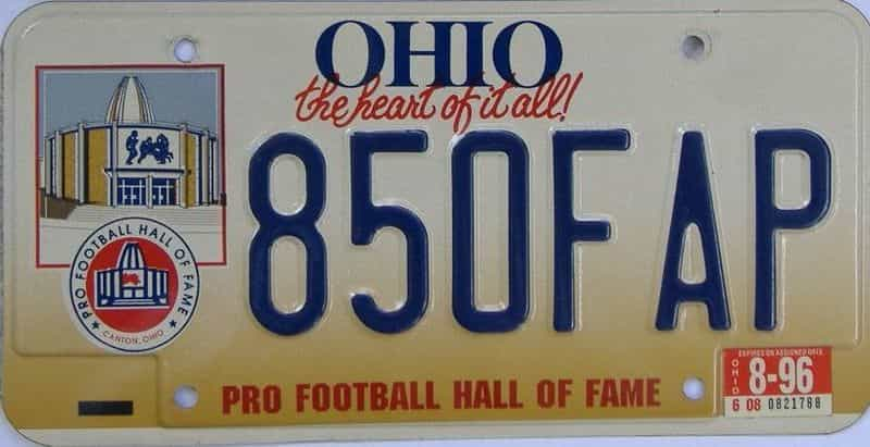 1996 Ohio  (Single) license plate for sale