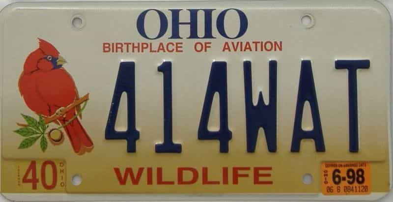 1998 Ohio  (Single) license plate for sale