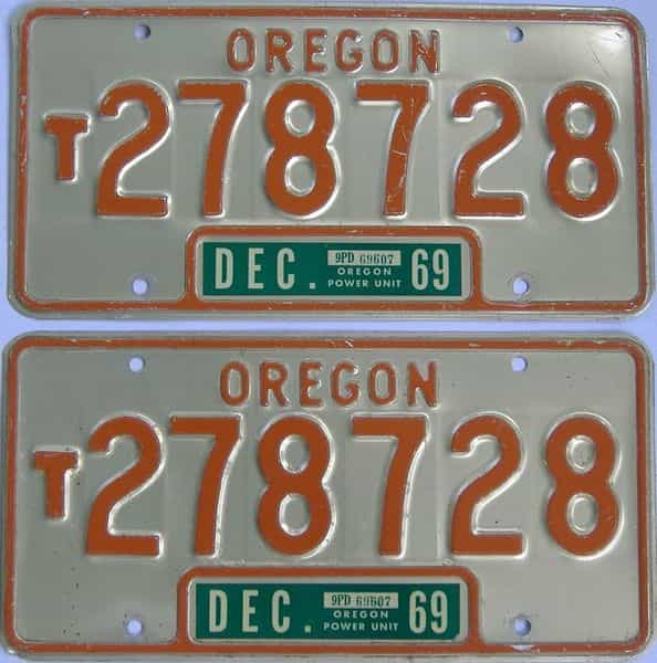 1969 Oregon (Truck) license plate for sale