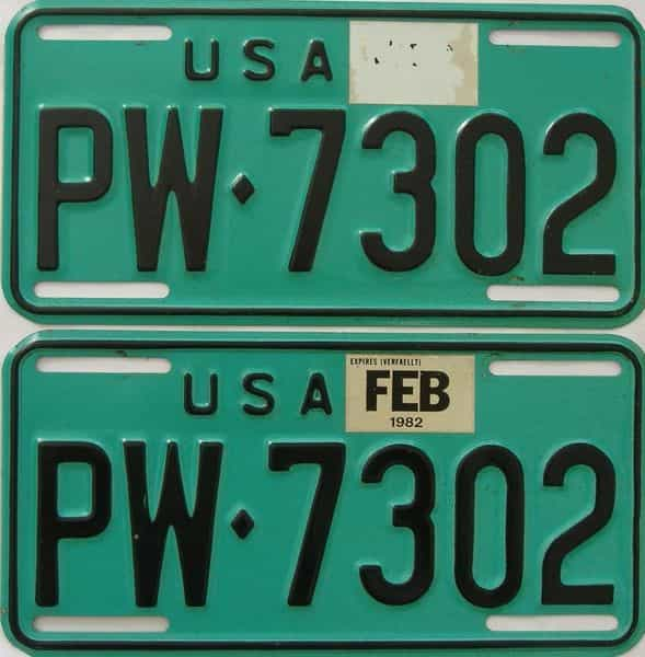 1982 Miscellaneous (Pair) license plate for sale