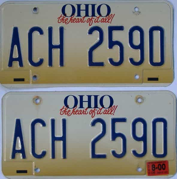 2000 Ohio  (Pair) license plate for sale