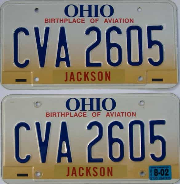 2002 Ohio  (Pair) license plate for sale