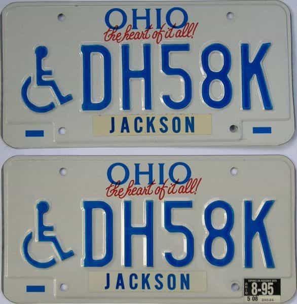 1995 OH (Pair) license plate for sale