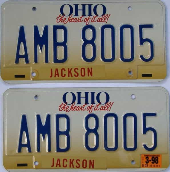1998 OH (Pair) license plate for sale